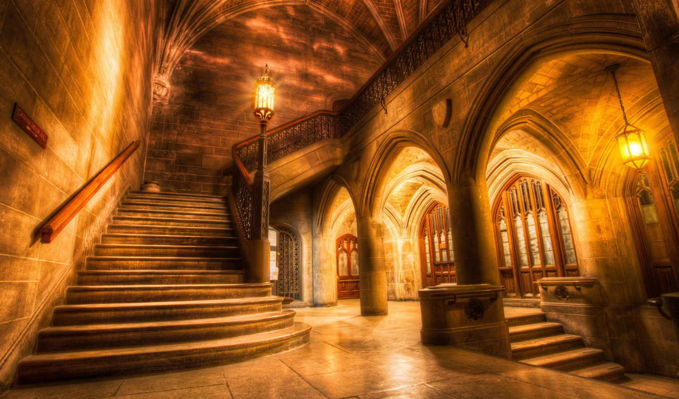 hall, university, chicago, hdr,