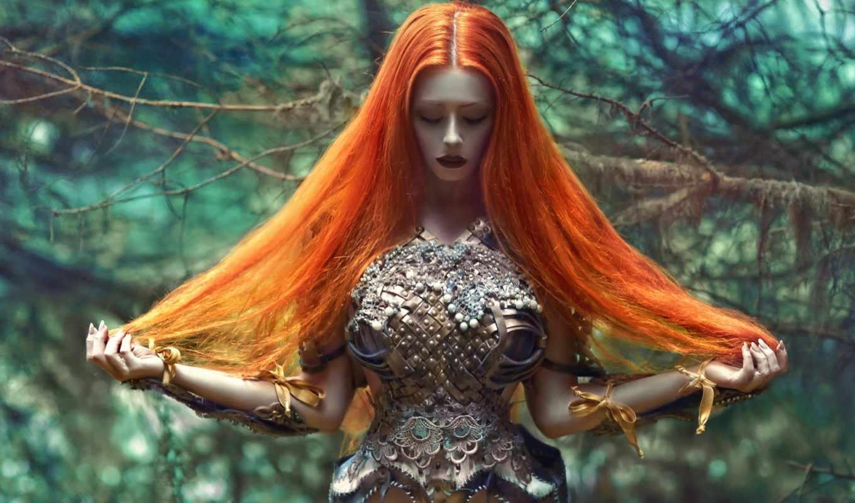 девушка, волосами, рыжими, lorek, agnieszka, длинными, devushki,