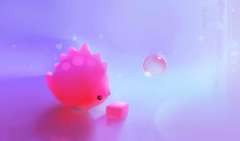 пузырь, розовый, куб, динозавр, арт, сердечко, картинка, apofiss, картинку,