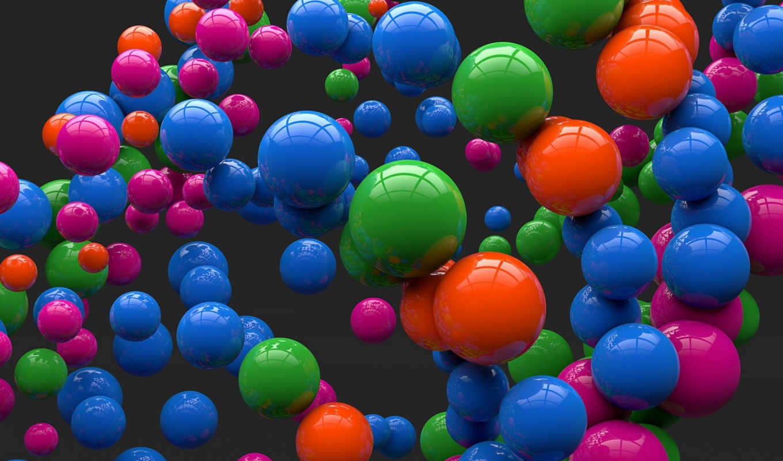 шары, отражение, цветные, сферы, серый, арт, картинку, кнопкой, правой,