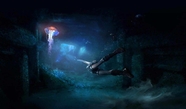 tomb, raider, , desktop, fishing,