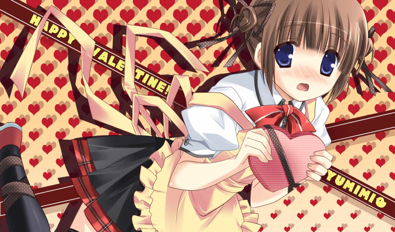 akane, tezuka, ikegami, yumimi, brown, blush, hair, thighhighs, eyes, valentine, seifuku, blue, ribbon, with, apron,