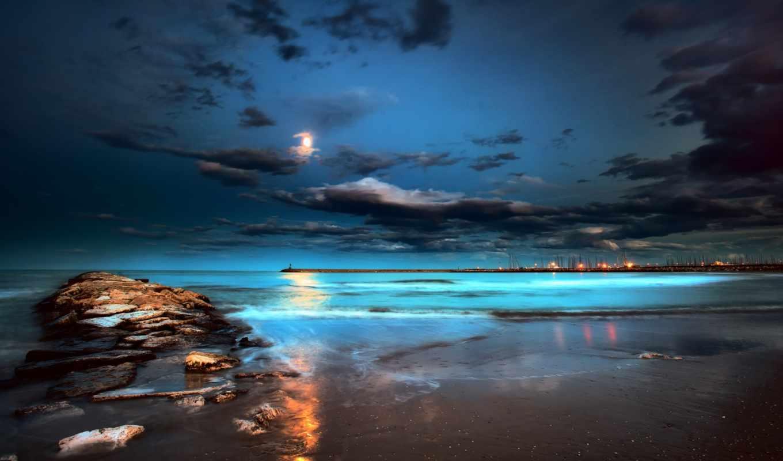 луна, море, ночь, огни,