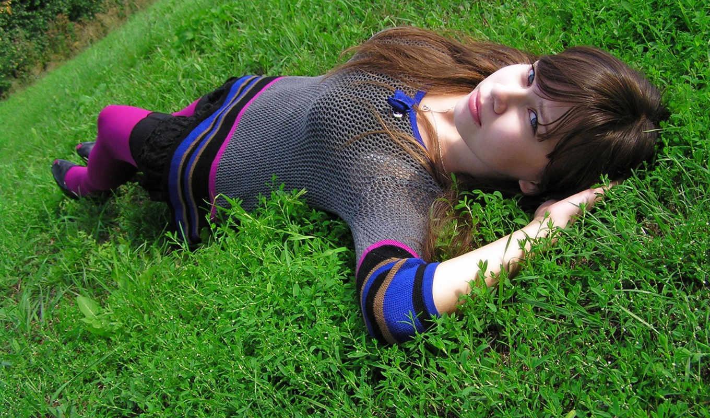 отдых, девушка, трава,