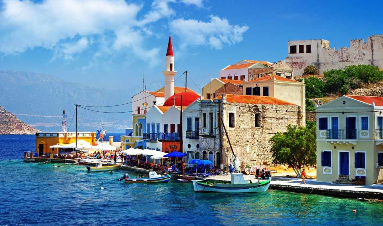 greece, море, причал, лодки, дома, набережная, люди,