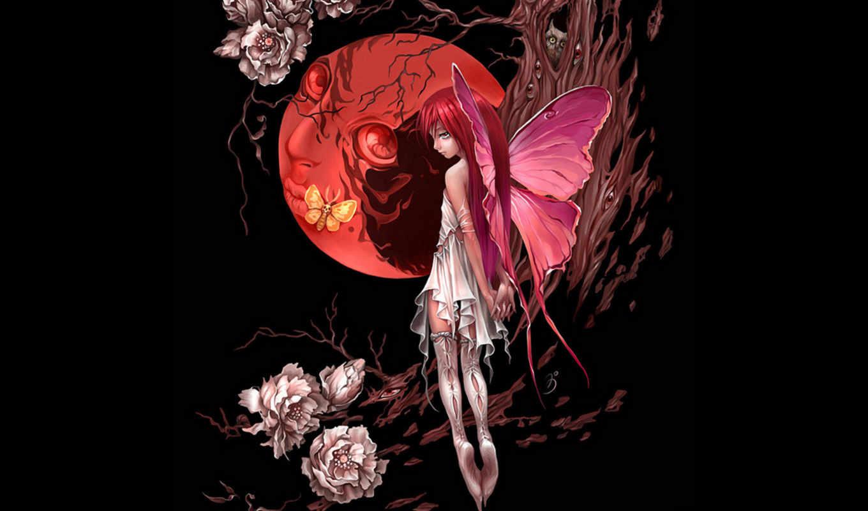 луна, девушка, красная, бабочка, крылья, month, дерево, ночь, anime, готичные, цветы,