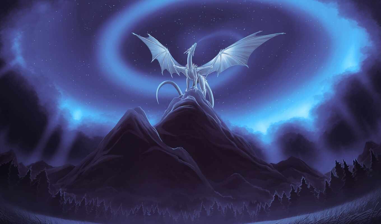дракон, снег, драконы, imagine, drawing