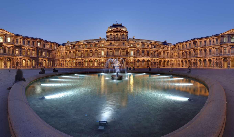 город, красивый, louvre, francii, миро, fountain, река, огонь, ночь, museum