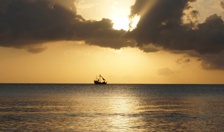 море, caribbean, пиратский, горизонт, закат, облако, корабль, небо