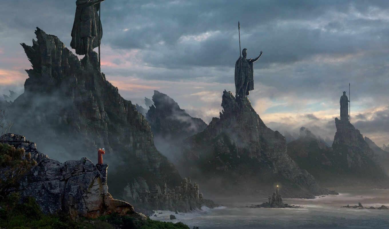 море, горы, маяк, свинцовое, небо, лес, awesome, artwork, статуи, маг, стражи, soldiers, fantasy, mountain, kings, three,