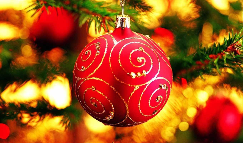 шар, шарик, новый, год, desktop, елка, christmas, красный, елке, заставки,