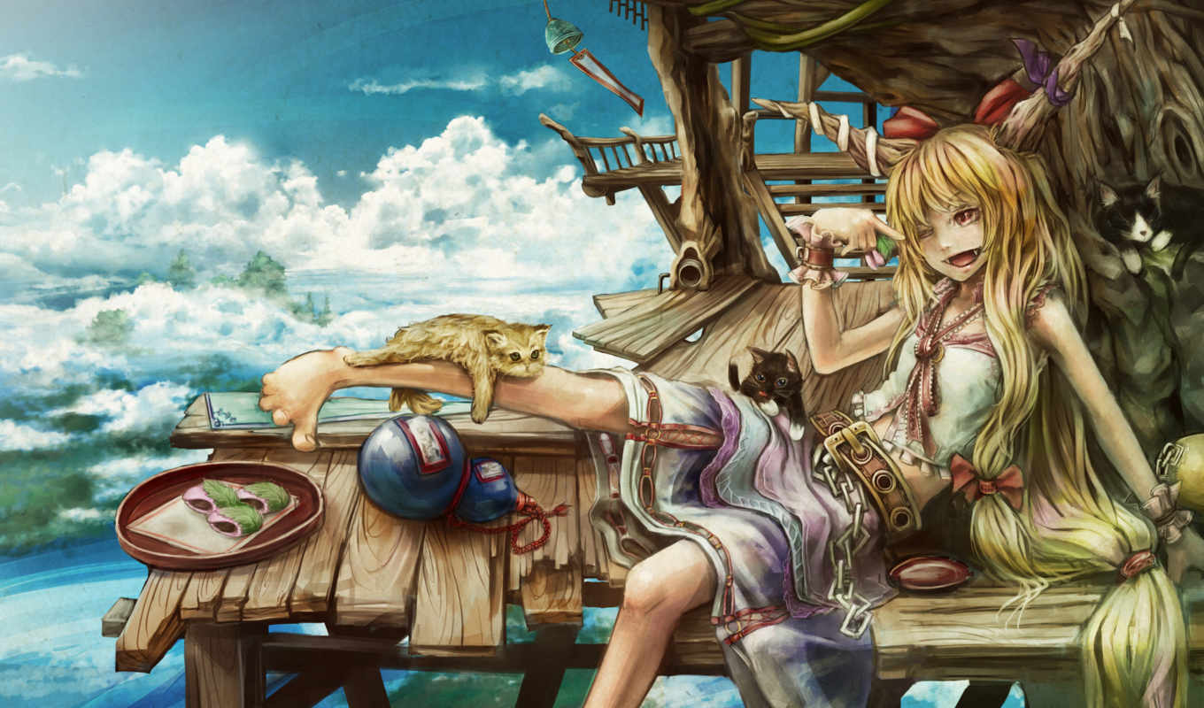 девушка, рога, touhou, картинка, collection, аниме, انمى, clouds, horns, hair, long, suika, ibuki, food, blondes, houses, cats, girls,