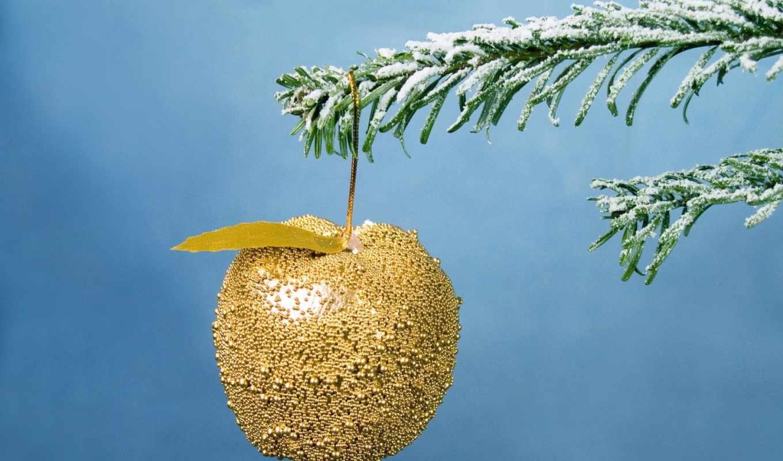 год, новый, яблоко, рождество, ветка, праздник, ёль, золотое, xmas, celebration,