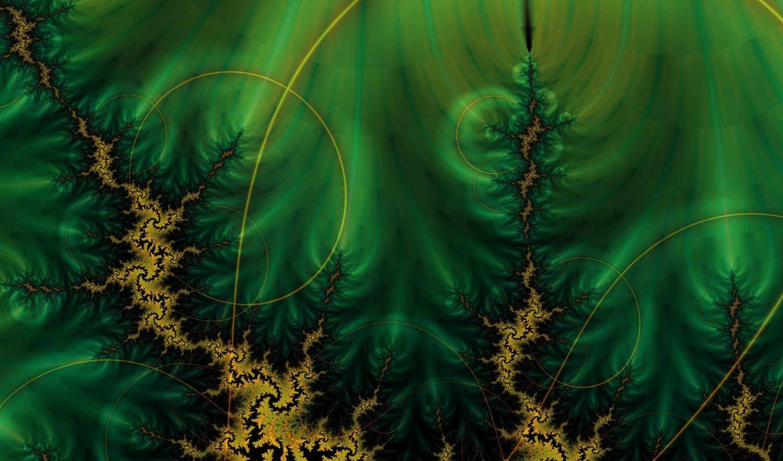 зелёный, круги, фракталы, линии, темно,