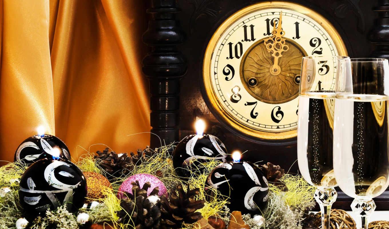 new, год, шампанское, очки, праздник, часы,