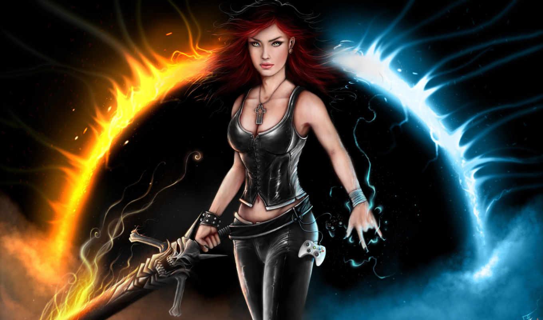 девушка, меч, пламя, магия, джойстик,
