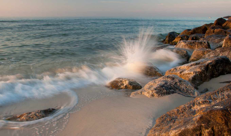 камни, surf, море, песок, природа, брызги,