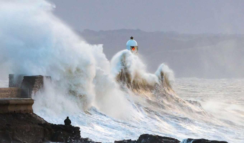 море, океан, стихия, shtorm, маяк, волна, ocean