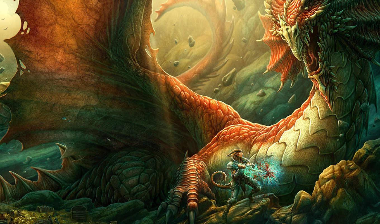 дракон, меч, драконоборец, воин, скалы, пещера, сокровища, beyit, kerem, картинка,