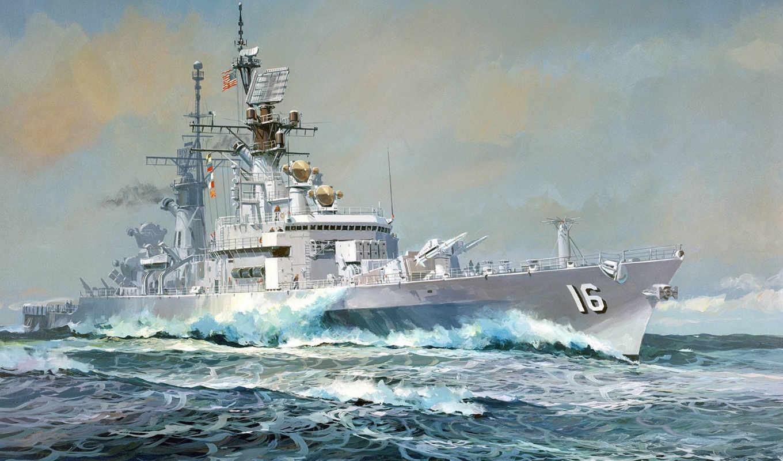 море, корабль, рисунок, небо, эсминец, картинка, часть, имеет,