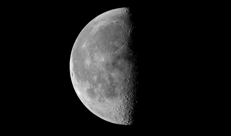 луна, луны, спутник, сторона, половина,