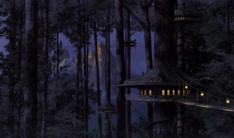 лес, домики, мосты, art, дереве, digital, дом, fantastik, dark, смотрите, resimler, night, mēs, surreal, fantasy, resimleri,