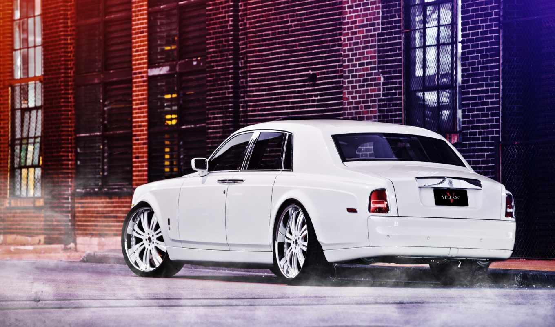 rolls, royce, phantom, white, фантом, ройс, белый, улица,