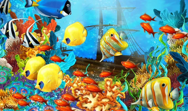 морское, bottom, рыбы, кораллы, sailboat, корабль, картинка,