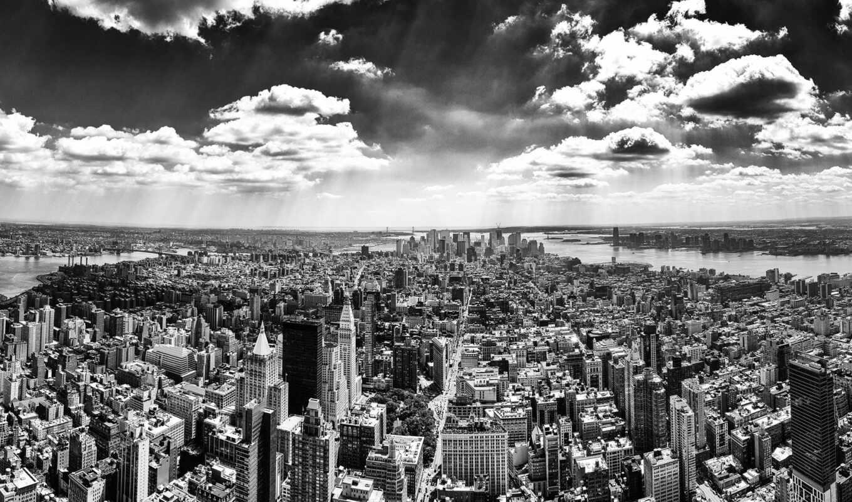 white, new, город, york, black