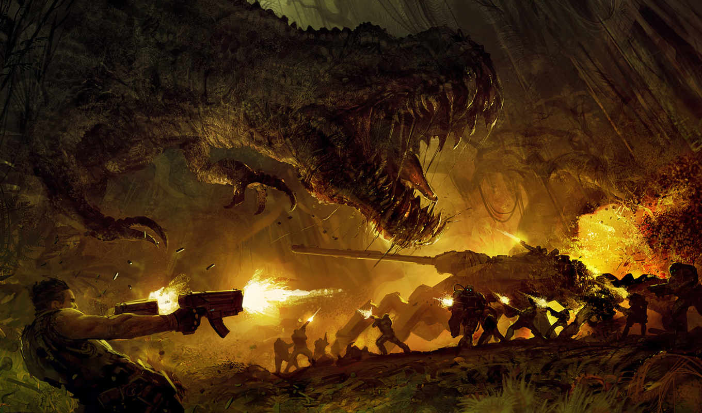 turok, war, jurassic, epic, tags, art, park, fantasy, турок, with, view, tyrannosaurus,