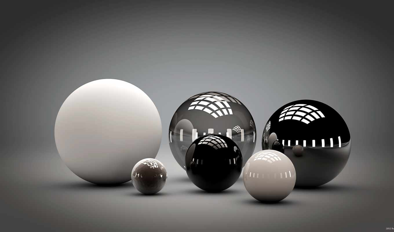 графикой, трехмерной, фона, spheres, abstract, free, balls,