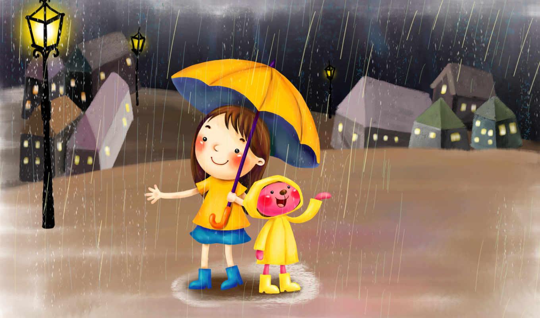 нарсованные, девочка, медвежонок, дождь, фонарь, зонт, дождевик, город, ночь