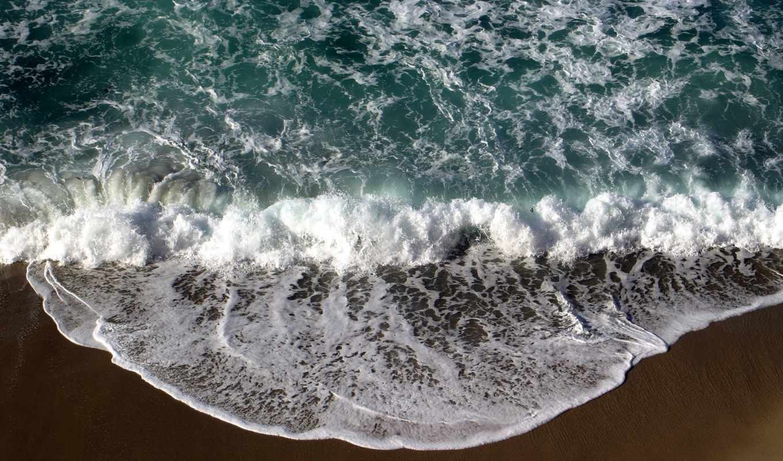 море, волна, surf, пенка, песок,