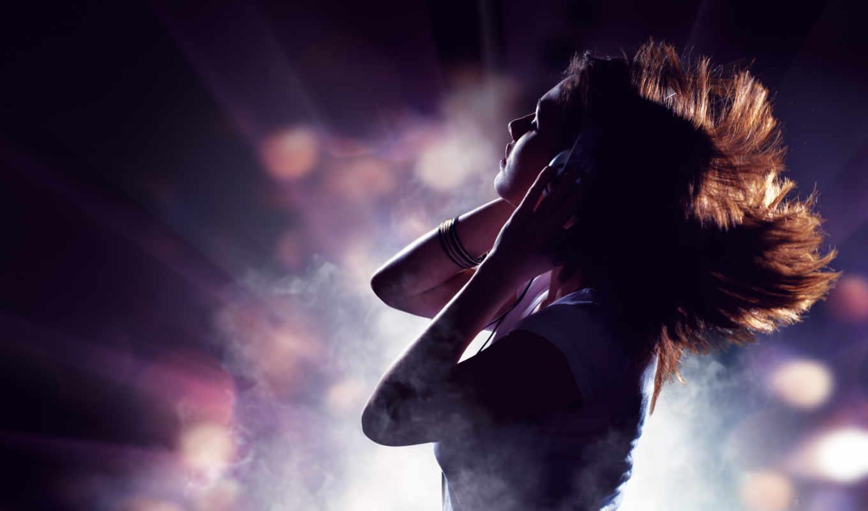 девушка, музыка, наушники, настроение, волосы,