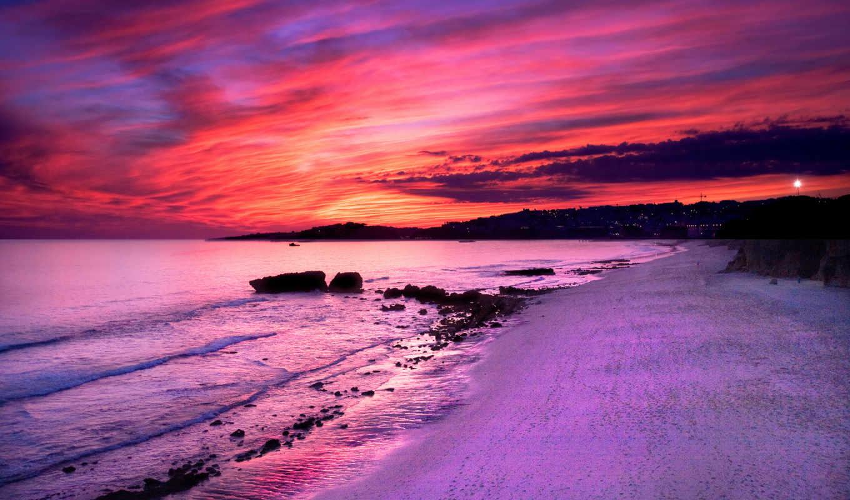 закат, розовый, море, пляж, природа,