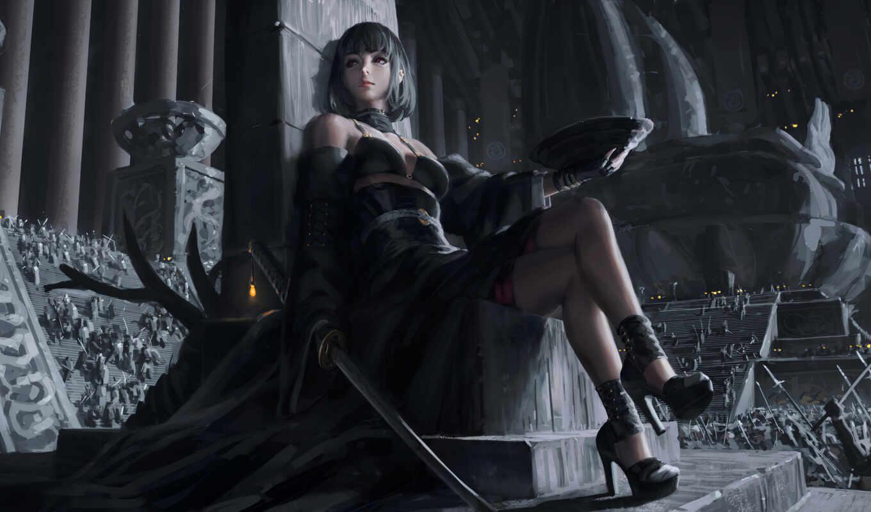 art, девушка, fantasy, меч, arm, rolled, sit, оружие, drama, red