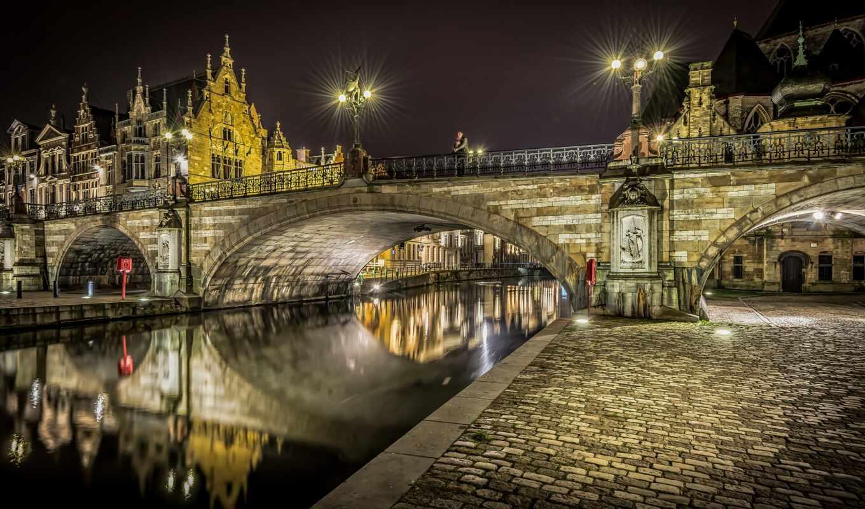 мост, огни, ночь, река, belgica, casa, puente, фонарик, бельгия, house