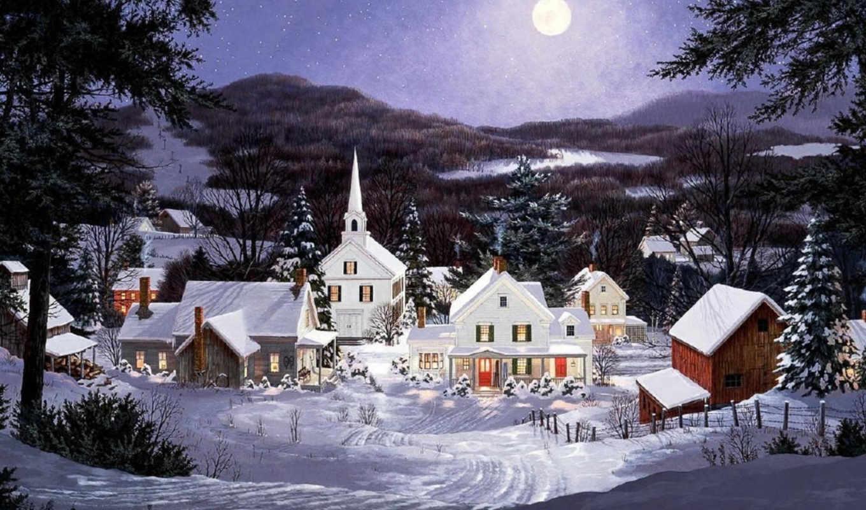 фотомонтаж, новогодние, картинку, часть, фотообои, сюжеты, мы, рождество, moon, новый, you, wir, blue,