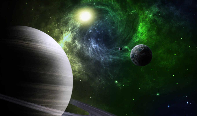 космос, планеты, кольца, луна, спутники, звезды, земля, planets,