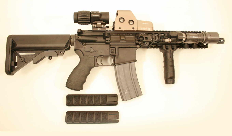 guns, rifle, LMT, CQBPS12, scope, глушитель, тактический фонарь