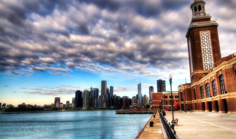 , new york, панорма, небо, здания,