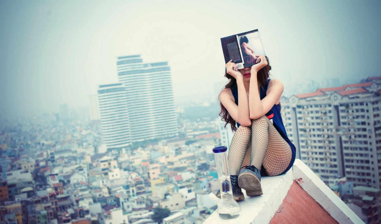 крыша, девушка, красивые, книга, крыше, devushki, devushka, фотографий,