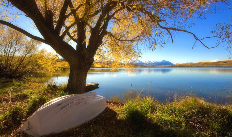 озеро, осень, лодка, дерево, landscape, осеннее,