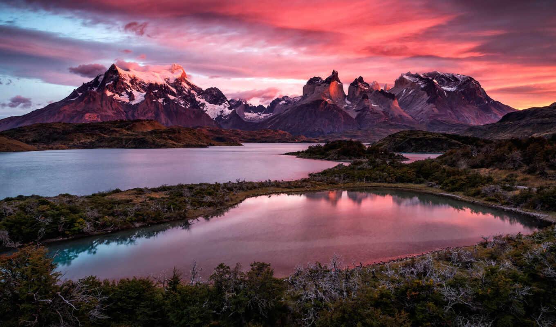 , горы, озеро, закат,