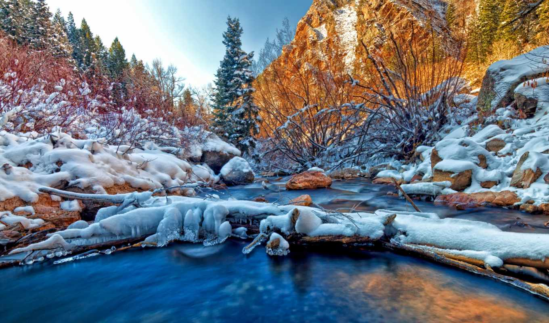 tapety, zima, pulpit, krajobrazy, puzzle, factory, zimowe, tapeta, sople,
