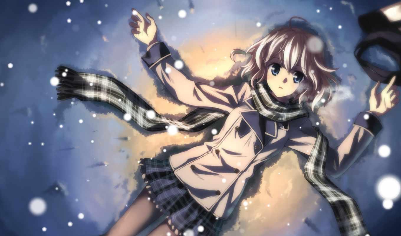 anime, девушка, winter, лежит, взгляд, devushki, телефон, юкки, красивые,