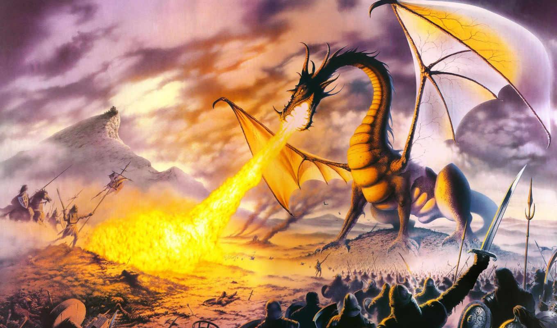 dragon, огонь, фентези, воины, read, steve, lord, картинка,