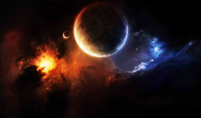 туманность, планета, мрак, спутник, космос, картинку, правой, кнопкой,