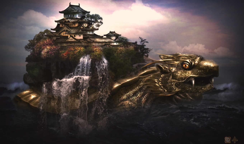 castle, dragon,