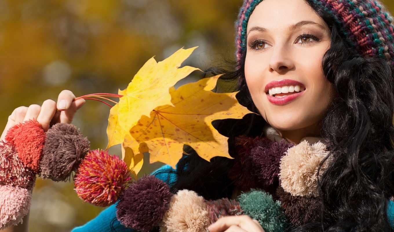 кареглазая, девушка, взгляд, брюнетка, кнопкой,, beauty, autumn,